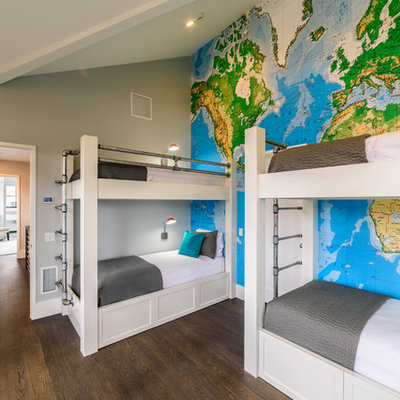 Inspiration for a coastal gender-neutral dark wood floor and brown floor kids' room remodel in New York with gray walls