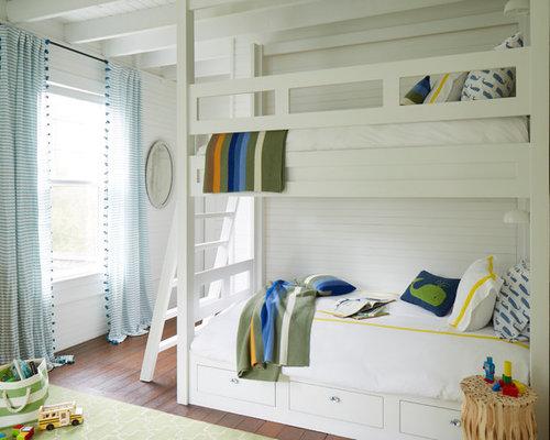 Kidsu0027 Bedroom   Mid Sized Beach Style Dark Wood Floor And Brown Floor Kids