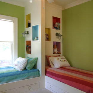 Kids' room - mid-sized contemporary gender-neutral carpeted kids' room idea in Charleston with green walls