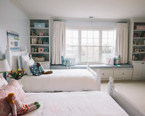bedroom window seat. Inspiration for a timeless gender neutral carpeted kids  bedroom remodel in Chicago with blue Bedroom Window Seat Houzz