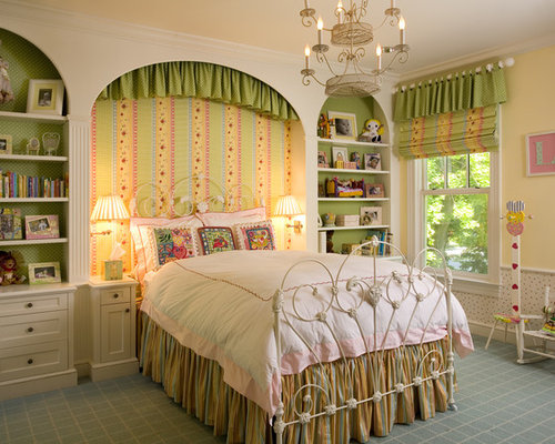 example of a large ornate girl carpeted kidsu0027 bedroom design in new york with