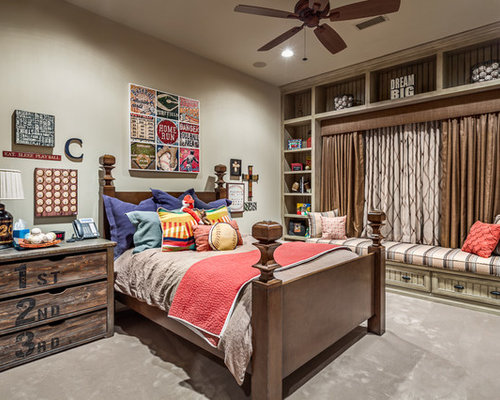 baseball bedroom furniture. Example of a mountain style boy carpeted kids  bedroom design in Austin with gray walls Baseball Room Houzz