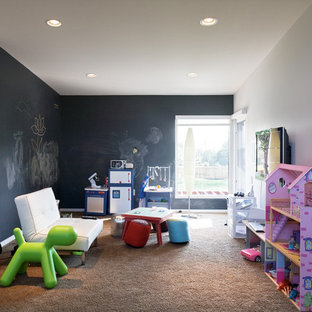 Playroom - contemporary playroom idea in Kansas City with multicolored walls