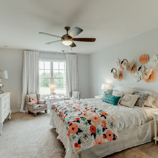 Cottage Chic Girl Carpeted And Beige Floor Kidsu0027 Room Photo In Richmond  With Blue Walls