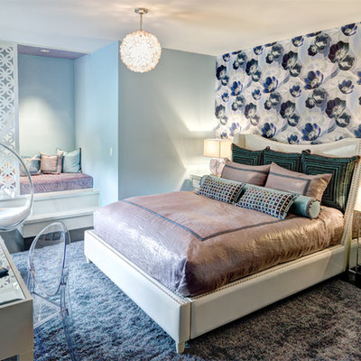 Example of a mid-sized trendy girl dark wood floor kids' room design in New York with multicolored walls