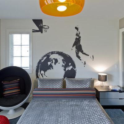 Mid-sized trendy boy dark wood floor kids' room photo in New York with gray walls