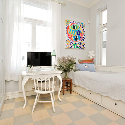 Inspiration for a transitional girl multicolored floor kids' room remodel in Other with gray walls