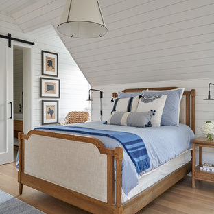 Medium sized classic children's room for boys in Dallas with white walls, light hardwood flooring and beige floors.
