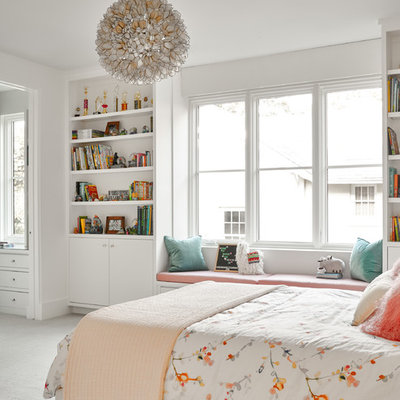 Inspiration for a mid-sized transitional girl carpeted and gray floor kids' room remodel in Dallas with white walls