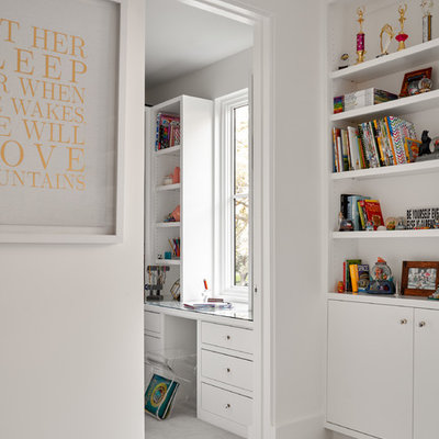 Kids' room - mid-sized transitional girl carpeted and gray floor kids' room idea in Dallas with white walls