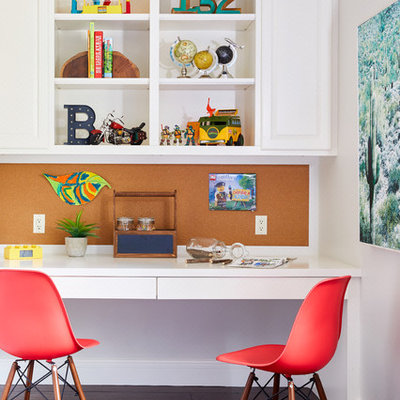 Example of a small transitional boy dark wood floor kids' room design in Phoenix with white walls