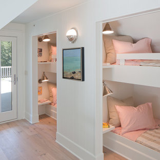 Inspiration for a beach style light wood floor kids' room remodel in Grand Rapids with white walls