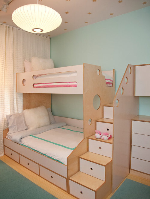 bunk beds with stairs. Example Of A Trendy Gender-neutral Light Wood Floor Kids\u0027 Bedroom Design In New Bunk Beds With Stairs S