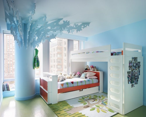 Eclectic Gender Neutral Kids Room Idea In New York With Blue Walls And Green