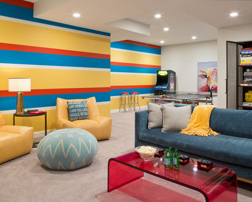 Transitional Gender Neutral Teen Room Photo In Denver With Multicolored  Walls, Carpet And Beige