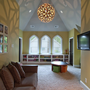 Inspiration for a large eclectic gender-neutral carpeted and beige floor kids' room remodel in Charlotte with yellow walls