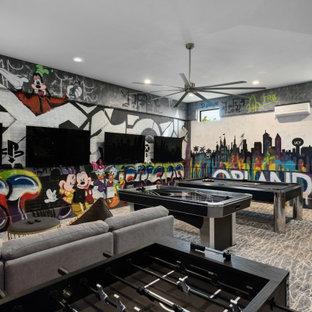 Идея дизайна: нейтральная детская с игровой в современном стиле с разноцветными стенами, ковровым покрытием, разноцветным полом и кирпичными стенами для ребенка от 4 до 10 лет