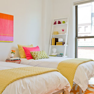 Inspiration for a mid-sized contemporary girl light wood floor kids' room remodel in Boston with white walls