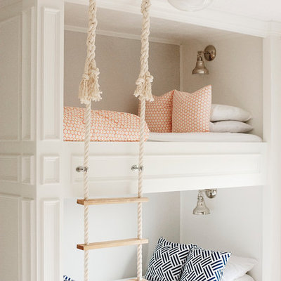 Mid-sized elegant gender-neutral carpeted kids' room photo in Portland with gray walls