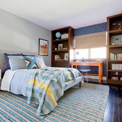 Kids' room - mid-sized transitional boy dark wood floor kids' room idea in Los Angeles with gray walls