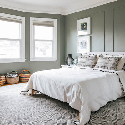 Kids' room - mid-sized transitional gender-neutral carpeted and gray floor kids' room idea in San Francisco with green walls