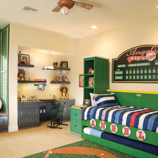 Kids' room - mid-sized traditional boy carpeted and beige floor kids' room idea in Phoenix with multicolored walls