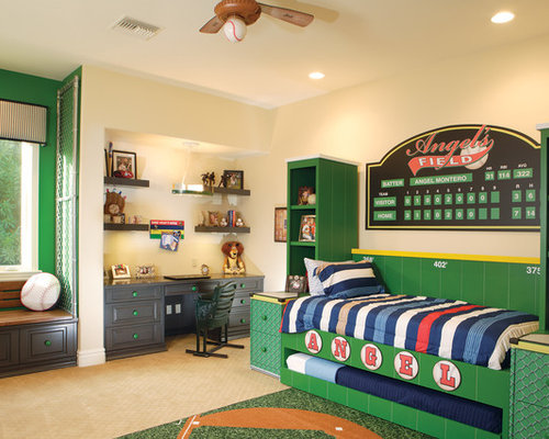 Mid Sized Traditional Boy Carpeted And Beige Floor Kids Bedroom Idea In Phoenix With