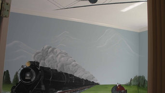 boys nursery/ children's murals/ planes trains and automobiles/faux finish