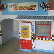 Contemporary Kids Boys Pit Stop Garage Playhouse Loft Bed - By KidSpace Playrooms