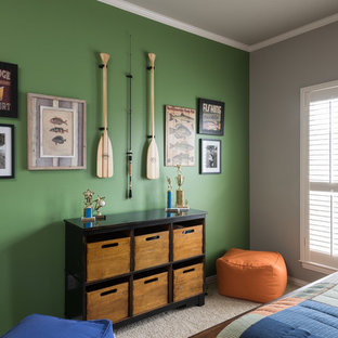 Example of a mid-sized classic boy carpeted and beige floor kids' room design in Dallas with gray walls
