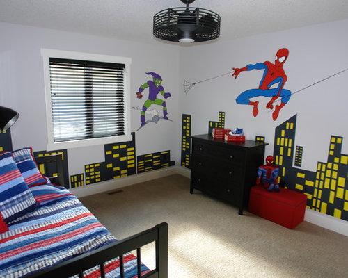 spiderman bedroom. Example of a minimalist kids  room design in Calgary Spiderman Bedroom Houzz