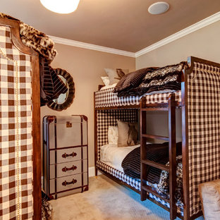 Inspiration for a mid-sized victorian gender-neutral kids' bedroom for kids 4-10 years old in Denver with beige walls and carpet.