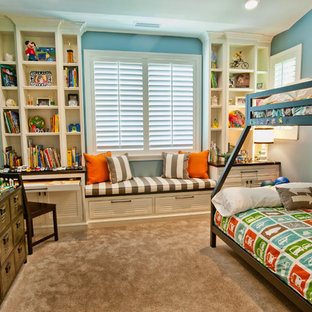 Inspiration for a timeless boy carpeted kids' room remodel in Los Angeles with blue walls