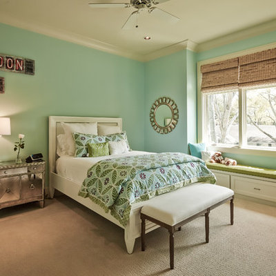 Kids' room - mid-sized traditional girl carpeted and beige floor kids' room idea in Houston with green walls