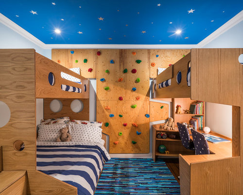 Example Of A Trendy Gender Neutral Kidsu0027 Bedroom Design In New York With  Blue