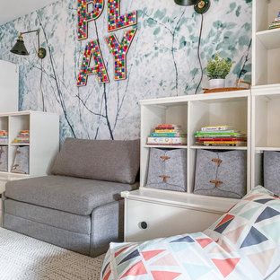 Inspiration for a mid-sized modern gender-neutral carpeted and beige floor kids' room remodel in New York with multicolored walls