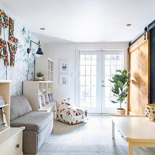 Mid-sized minimalist gender-neutral carpeted and beige floor kids' room photo in New York with multicolored walls