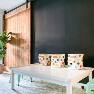 Kids' room - mid-sized modern gender-neutral carpeted and beige floor kids' room idea in New York with multicolored walls