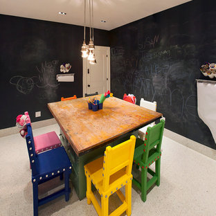 Стильный дизайн: маленькая нейтральная детская с игровой в современном стиле с черными стенами и полом из керамической плитки для ребенка от 4 до 10 лет - последний тренд