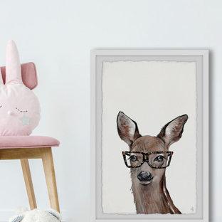 """""""Brown Hippie Deer"""" Framed Painting Print"""