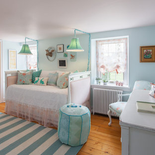 Mid-sized cottage chic girl medium tone wood floor and brown floor kids' room photo in Philadelphia with blue walls