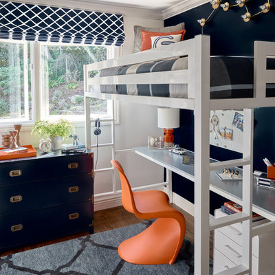 Example of a transitional boy dark wood floor childrens' room design in Other with black walls