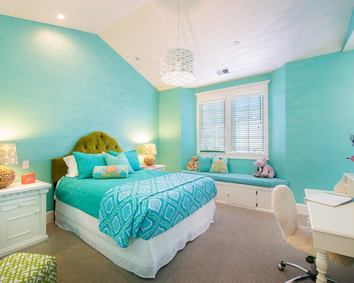 California beach house remodel - Chambre rose et turquoise ...