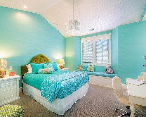 Chambre d 39 enfant bord de mer aqua turquoise photos et id es d co de c - Chambre turquoise et rose ...