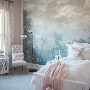 Kids' bedroom - traditional carpeted and gray floor kids' bedroom idea in Austin with pink walls