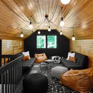 На фото: нейтральная детская в стиле рустика с сводчатым потолком, деревянным потолком и деревянными стенами для подростка