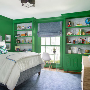 ダラス, TXのトランジショナルスタイルのおしゃれな子供部屋 (緑の壁、ティーン向け) の写真