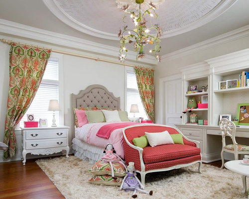 Victorian Girl Medium Tone Wood Floor Kidsu0027 Bedroom Idea In Toronto With  Beige Walls
