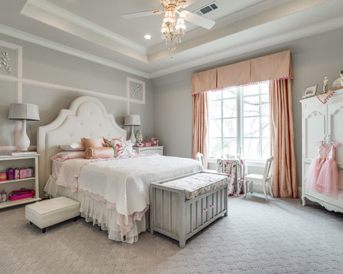 Example Of A Classic Girl Carpeted And Gray Floor Kidsu0027 Bedroom Design In  Dallas With