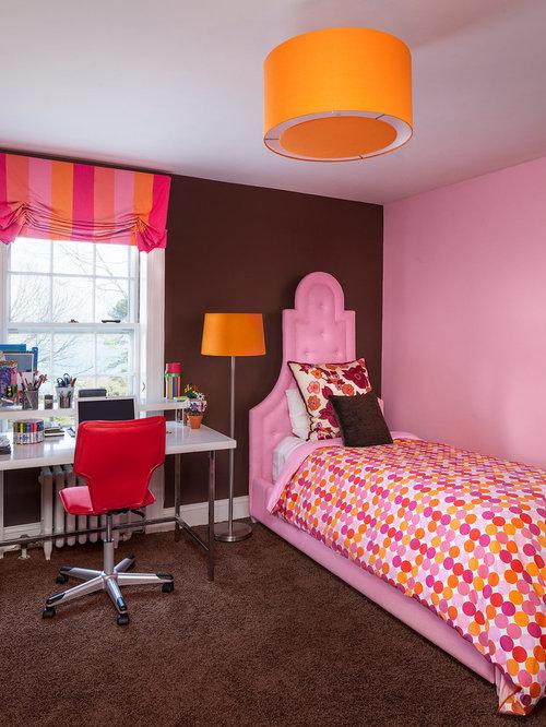 Pink Brown Contemporary Teen Girl Bedroom